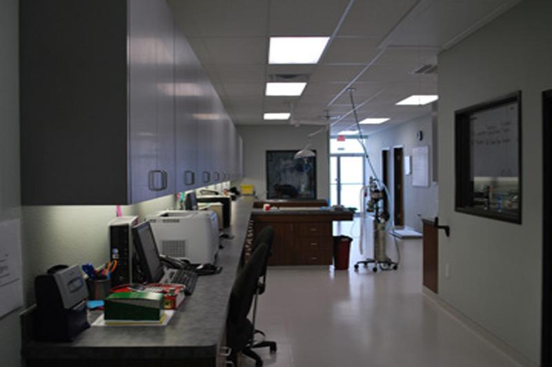 Work stations leading into surgery prep area