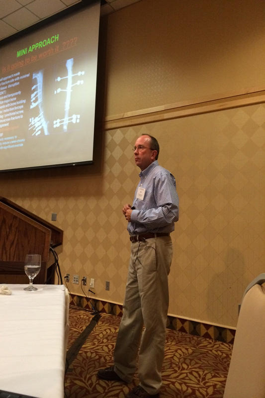 Dr. Radasch lectures to veterinarians about the latest surgical principles.