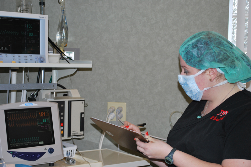 Our technicians carefully monitor patients during surgery